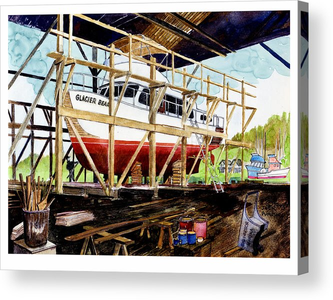 Marinas Acrylic Print featuring the painting Yacht Glacier Bear Hauled Out In Gig Harbor by Jack Pumphrey