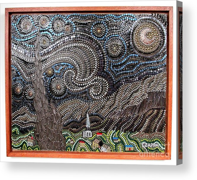 Wood Acrylic Print featuring the sculpture Starry Starry Night 2  by Bill Czappa