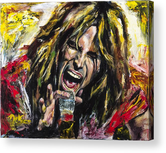 Steven Tyler Acrylic Print featuring the painting Steven Tyler by Mark Courage