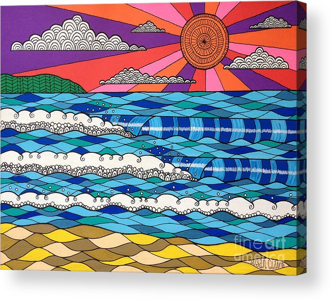 Waves Acrylic Print featuring the digital art Summer Vibes by MGL Meiklejohn Graphics Licensing