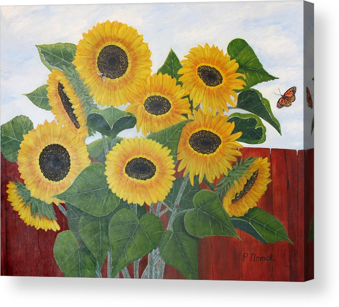 Flower Acrylic Print featuring the painting Sun Seekers by Patricia Novack