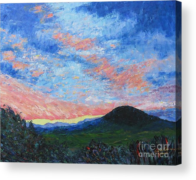 Landscape Acrylic Print featuring the painting Sun Setting Over Mole Hill - SOLD by Judith Espinoza