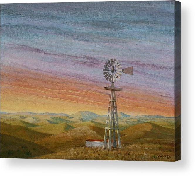 High Plains Acrylic Print featuring the painting Windmill Sunset by J W Kelly