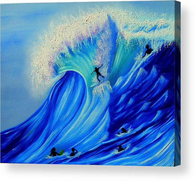 Surf Acrylic Print featuring the painting Surfing Party by Kathern Welsh