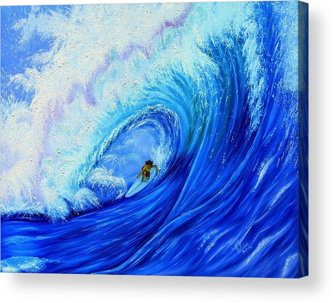 Surf Acrylic Print featuring the painting Surfing the Wild Wave by Kathern Welsh