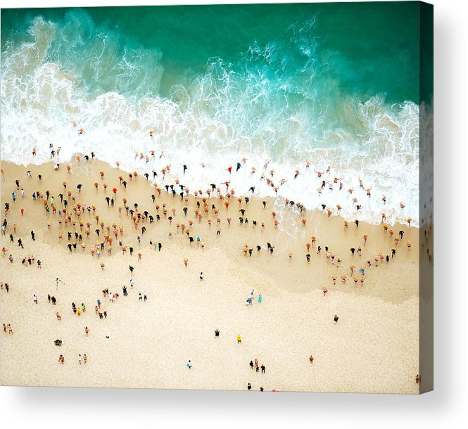 Water's Edge Acrylic Print featuring the photograph Swimmers Entering The Ocean by Tommy Clarke