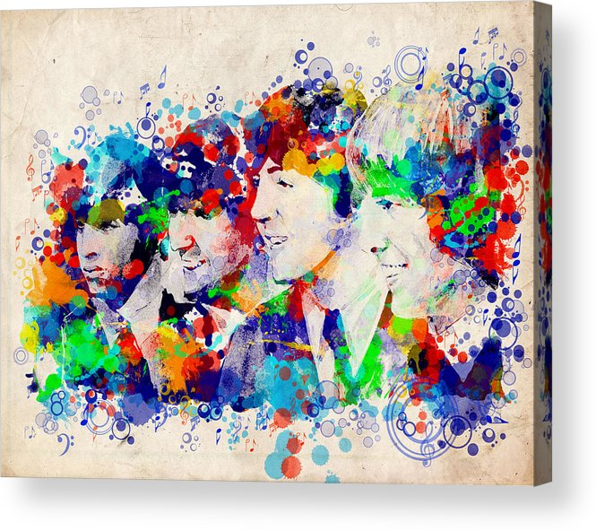 Beatles Acrylic Print featuring the painting The Beatles 7 by Bekim M