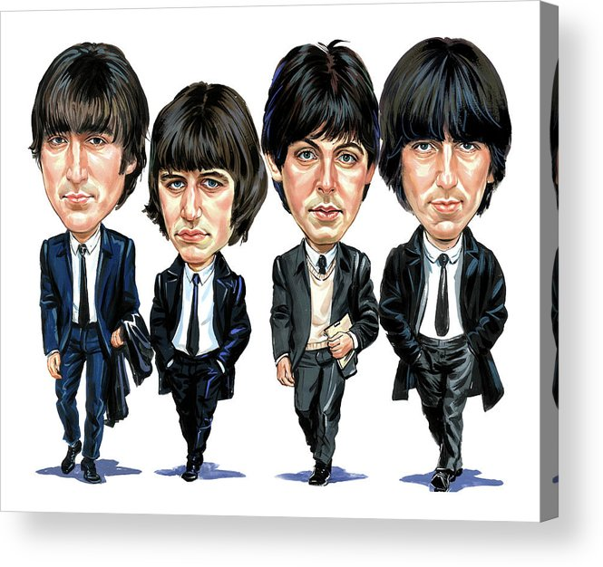 The Beatles Acrylic Print featuring the painting The Beatles by Art