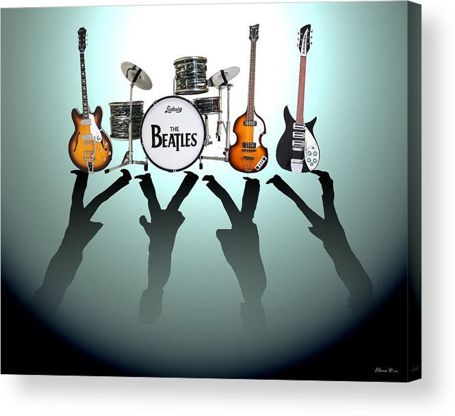 The Beatles Acrylic Print featuring the digital art The Beatles by Yelena Day