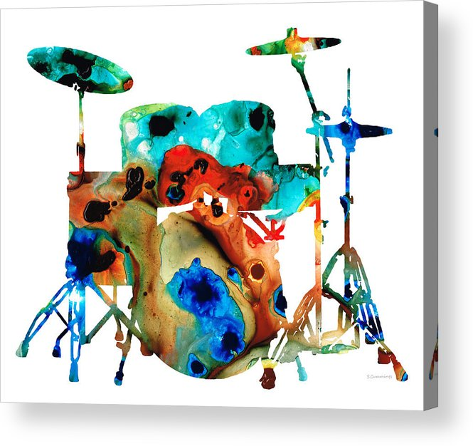 Drum Acrylic Print featuring the painting The Drums - Music Art By Sharon Cummings by Sharon Cummings