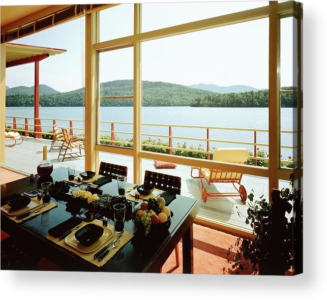 Indoors Acrylic Print featuring the photograph The House Of Mr. And Mrs. Alfred Rose On Lake by Robert M. Damora