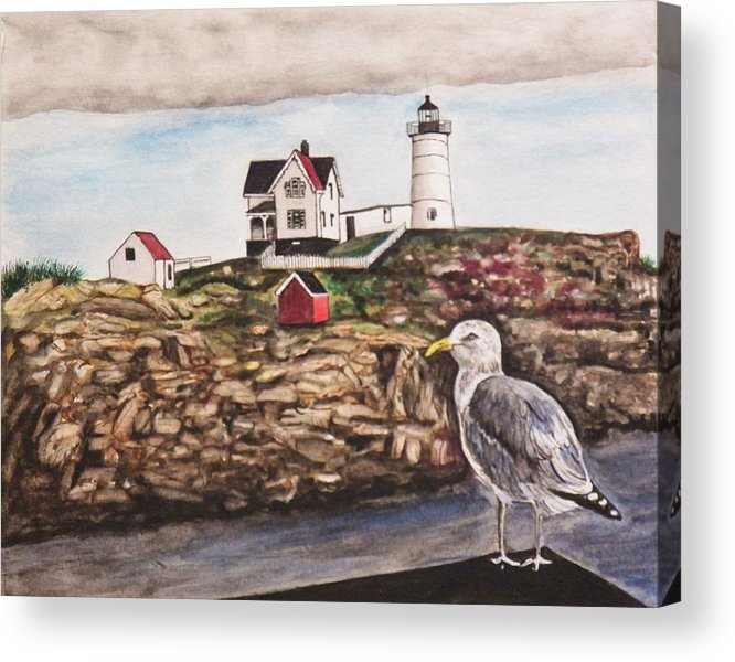 Seascape Acrylic Print featuring the painting The light House by Jim Reale