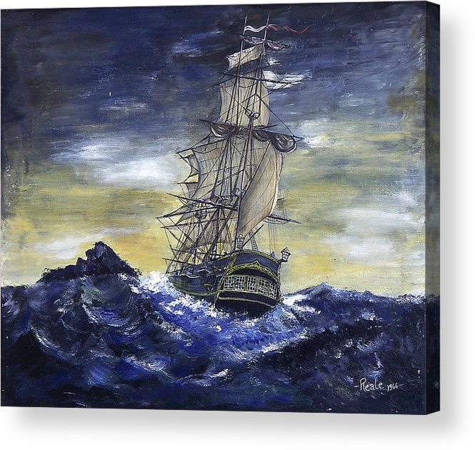 Seascape Acrylic Print featuring the painting The Ship by Jim Reale