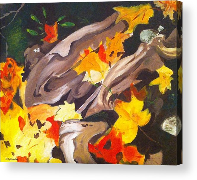 Tree Roots Acrylic Print featuring the painting Tree Roots and Autumn Leaves by Judy Swerlick