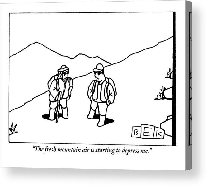 Fresh Air Acrylic Print featuring the drawing Two Hikers Are Talking To Each Other Outdoors by Bruce Eric Kaplan