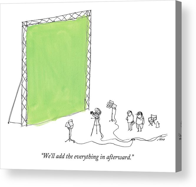 Film Acrylic Print featuring the drawing Two Men Point A Film Camera At A Green Screen by Edward Steed