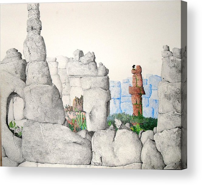 Landscape Acrylic Print featuring the painting Vaulting by A Robert Malcom