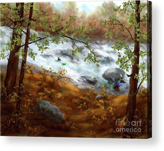 Whitewater Kayaking Acrylic Print featuring the painting Whitewater Kayaking by Judy Filarecki