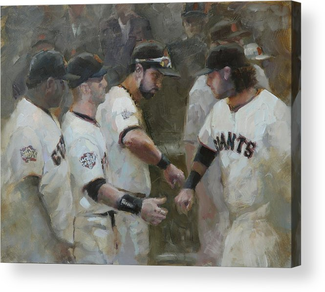 Sf Giants Acrylic Print featuring the painting World Series Fist Bump by Darren Kerr