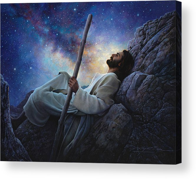 Jesus Acrylic Print featuring the painting Worlds Without End by Greg Olsen
