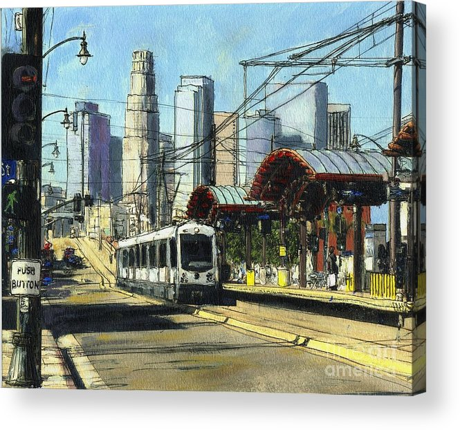California Acrylic Print featuring the painting 1st Street Train Station LA by Randy Sprout