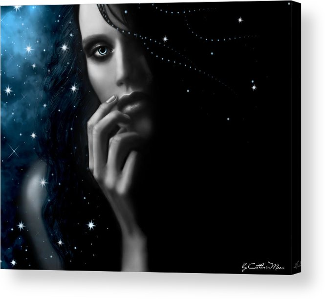 Stars Acrylic Print featuring the digital art Mystery by Catherin Moon