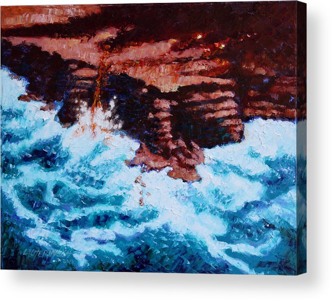 Ocean Acrylic Print featuring the painting Angry Ocean and Land by John Lautermilch