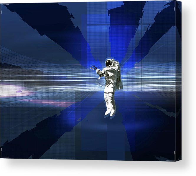 Horizontal Acrylic Print featuring the digital art Astronaut In Space by Jason Reed