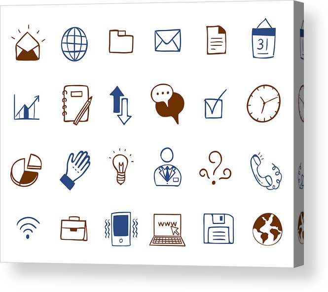 Horizontal Acrylic Print featuring the digital art Business Icon Set by Eastnine Inc.