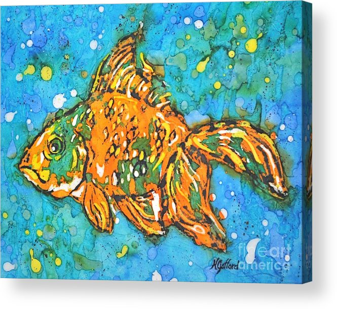 Painting Acrylic Print featuring the painting Goldfish by Norma Gafford