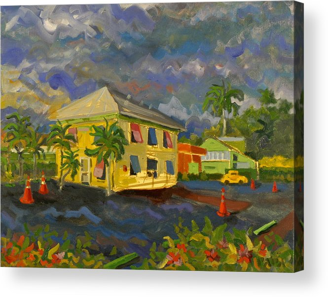 Key Lime House Acrylic Print featuring the painting Old Key Lime House by Ralph Papa