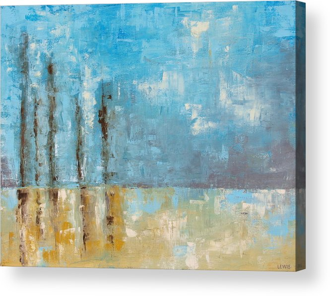 Blue Acrylic Print featuring the painting Reside by Ellen Lewis