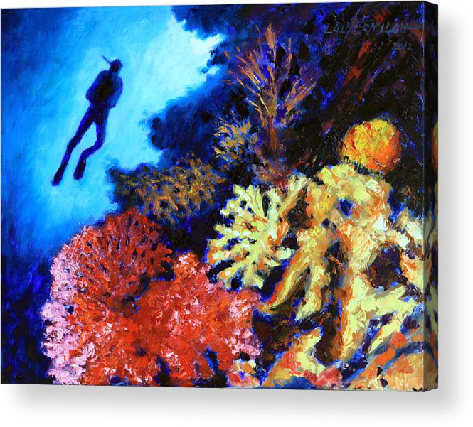 Ocean Acrylic Print featuring the painting Suspended Amongst Natures Beauty by John Lautermilch