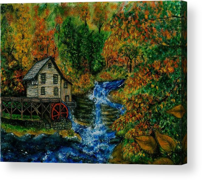 Mill Acrylic Print featuring the painting The Grist Mill in Autumn by Tanna Lee M Wells