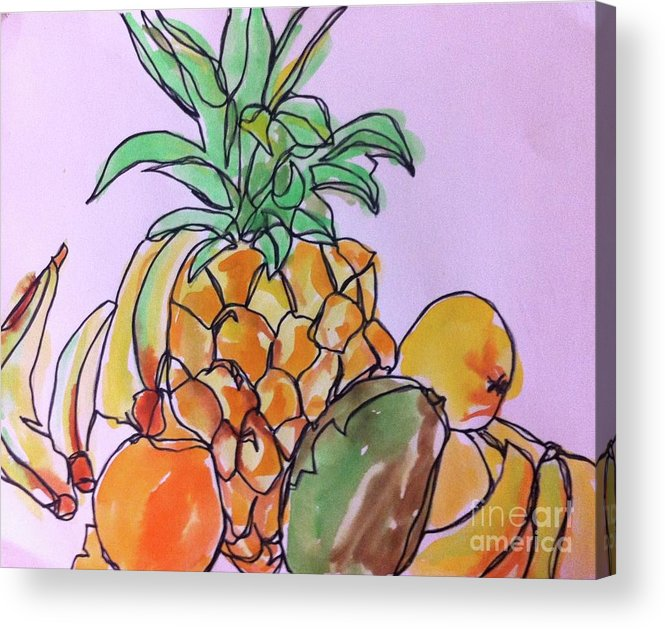 Art Acrylic Print featuring the painting Tropical Snack by Norma Gafford
