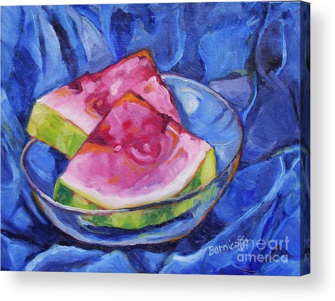 Still Life Acrylic Print featuring the painting Watermelon on Blue by Jan Bennicoff