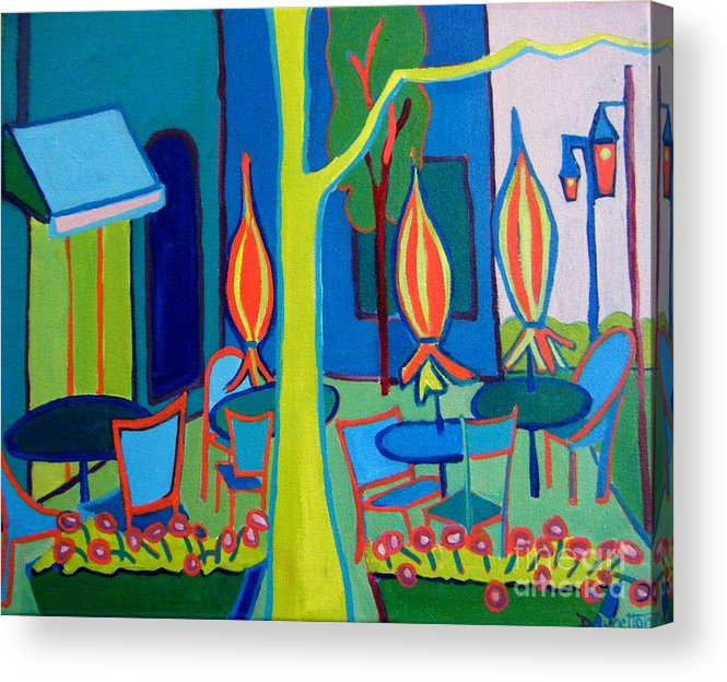 Landscape Acrylic Print featuring the painting Summer Cafe by Debra Bretton Robinson
