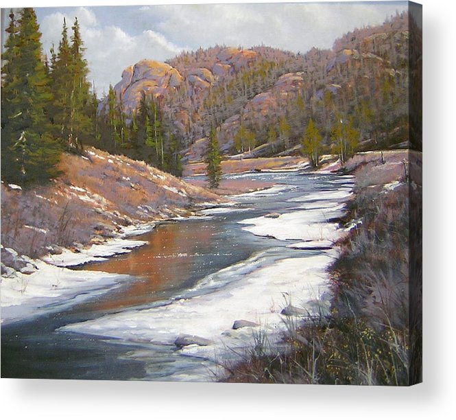 Landscape Acrylic Print featuring the painting 060112-2016  January Freeze  by Kenneth Shanika