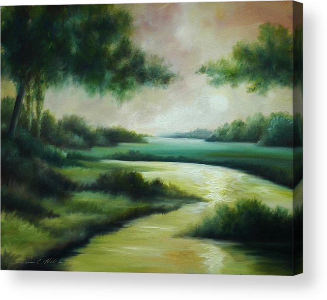 Bright Clouds; Sunsets; Reflections; Ocean; Water; Purple; Orange; Storms; Lightning; Contemporary; Abstract; Realism; James Christopher Hill; James Hill Studios; James C. Hilll; Forest; Flowers; Trees; Green; River; Water Acrylic Print featuring the painting Emerald Forest by James Christopher Hill
