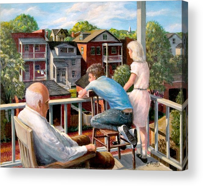 Cityscapes Cityscenes Grandpa Backporch  Oldman  Backyards  Alley  Garages Oldneighborhood  Acrylic Print featuring the painting Grandpa's Back Porch by Edward Farber