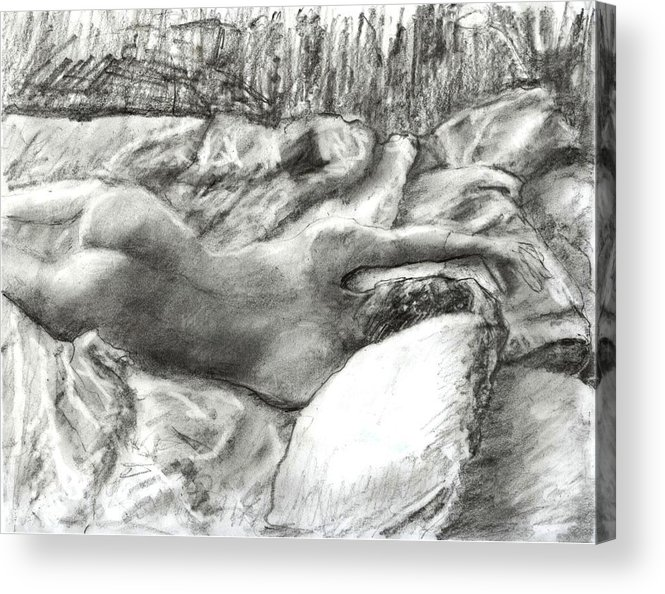 Nude Acrylic Print featuring the drawing Nude Maria in the Sheets by Randy Sprout