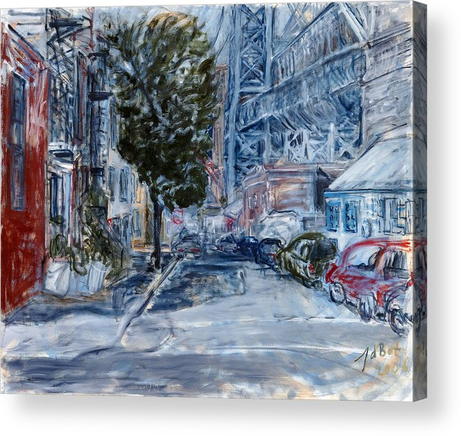 Cityscape Industrial Tree Cars Blue Grey Bridge Acrylic Print featuring the painting Williamsburg2 by Joan De Bot