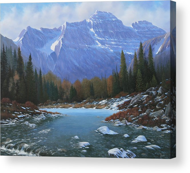 Rocky Mountain Landscape Acrylic Print featuring the painting 100129-4860 Winters Early Arrival by Kenneth Shanika