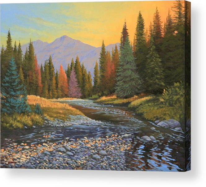 Sunrise Acrylic Print featuring the painting 100808-1620  The Kiss of Dawn by Kenneth Shanika