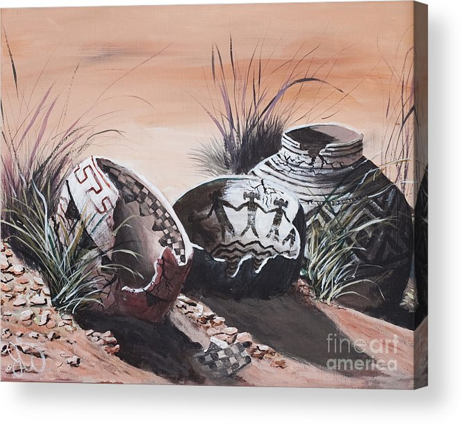 Still Life Pottery Acrylic Print featuring the painting Anasazi by John Wise