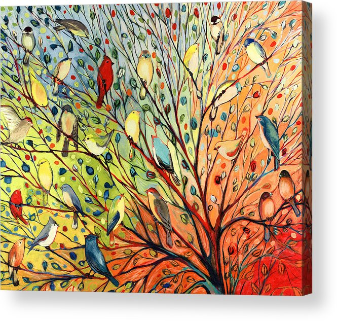 Bird Acrylic Print featuring the painting 27 Birds by Jennifer Lommers