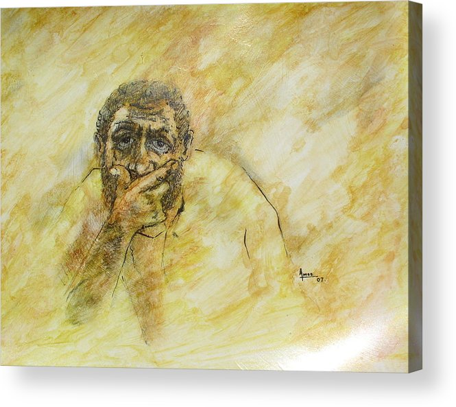 Portrait Acrylic Print featuring the drawing Untitled 4 by Victor Amor