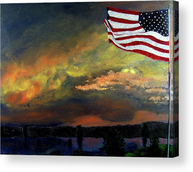 Landscape Acrylic Print featuring the painting 9-11 by Stan Hamilton