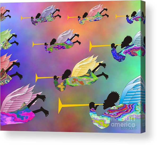 Angels Acrylic Print featuring the digital art A Band of Angels by Walter Neal