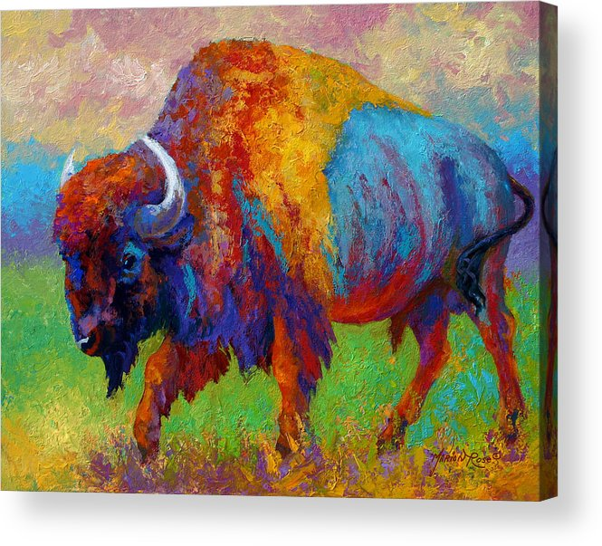 Wildlife Acrylic Print featuring the painting A Journey Still Unknown - Bison by Marion Rose